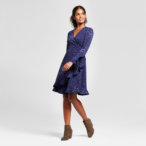 Women's Polka Dot Wrap Dress with Ruffle Cuff - K by Kersh® Navy/White - image 1 of 2