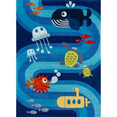 Ocean Life Accent Rug Blue (2'x3')