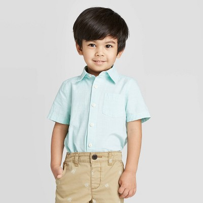 OshKosh B'gosh Toddler Boys' Short Sleeve Woven Button-Down Shirt - Teal 4T