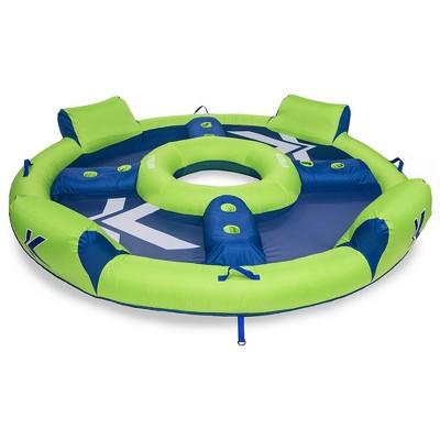 SwimWays Kelsyus Big Transportable Stable Circular Inflatable Nauti Elite Tube 4 Person Pool Lounge Floating Raft, Blue Green (Mesh)