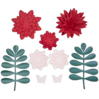 10-Piece Red 3D Paper Flower Decoration for Wedding Party Backdrop Baby Shower Bridal Shower Wall Decor 5.9""
