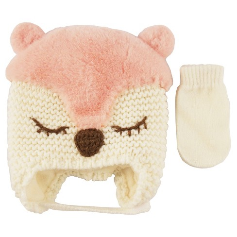 Girls  Critter Double Pom Hat And Mitten Set Pink - Cat   Jack™   Target b5aa18481449