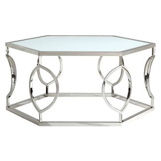 Alverne Hexagonal Cocktail Table - Chrome - Inspire Q