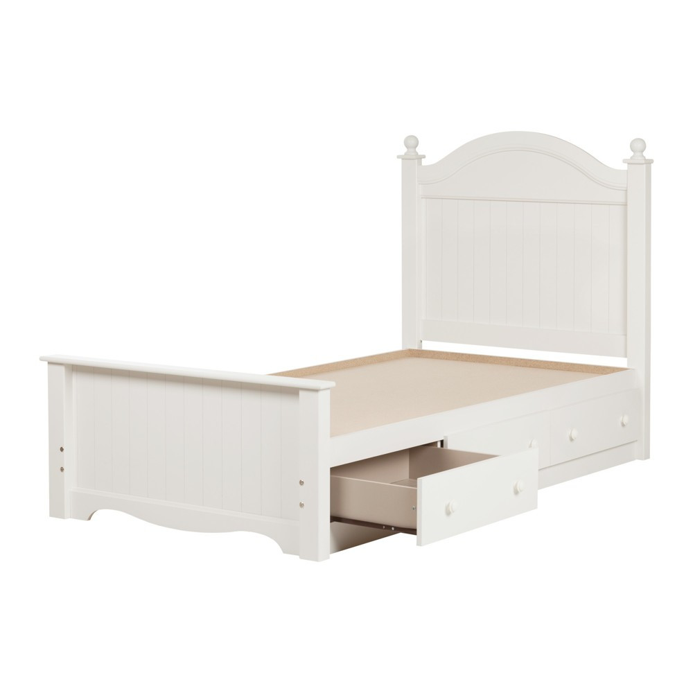 Savannah Bed Set with 3 Drawers - Twin - Pure White - South Shore