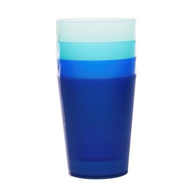 Plastic Tumblers 19oz Blue - Set of 4