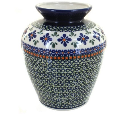 Blue Rose Polish Pottery Mosaic Flower Medium Vase