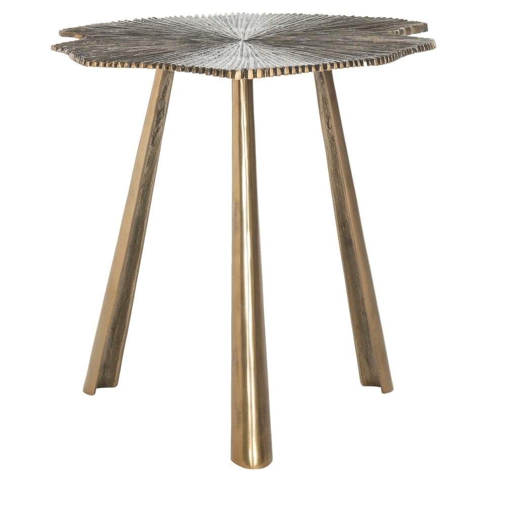 Portia Leaf Side Table - Brass - Safavieh