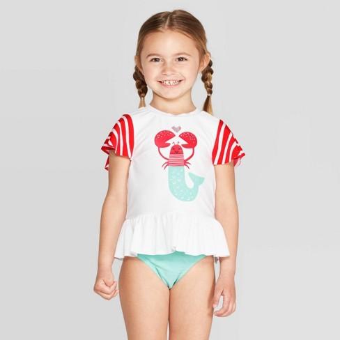 Toddler Girls' Short Sleeve Lobster Rash Guard Set - Cat & Jack™ White - image 1 of 3