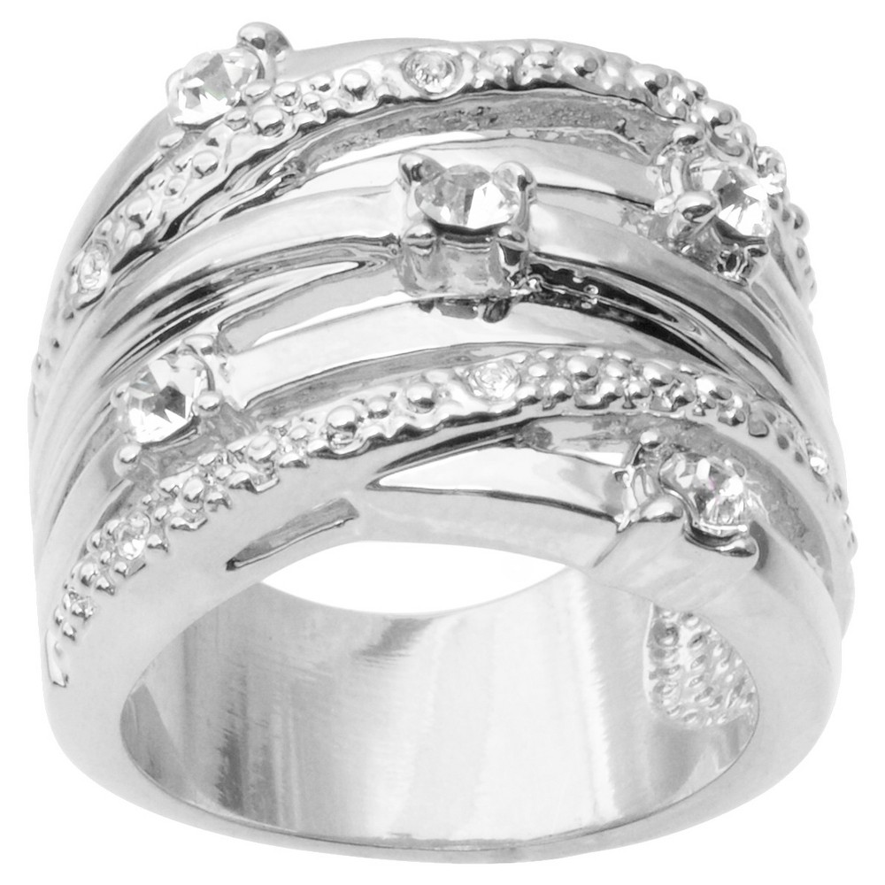 3/5 CT. T.W. Journee Collection Round Cut CZ Pave Set Multiple Strand Ring in Brass - Silver (7)