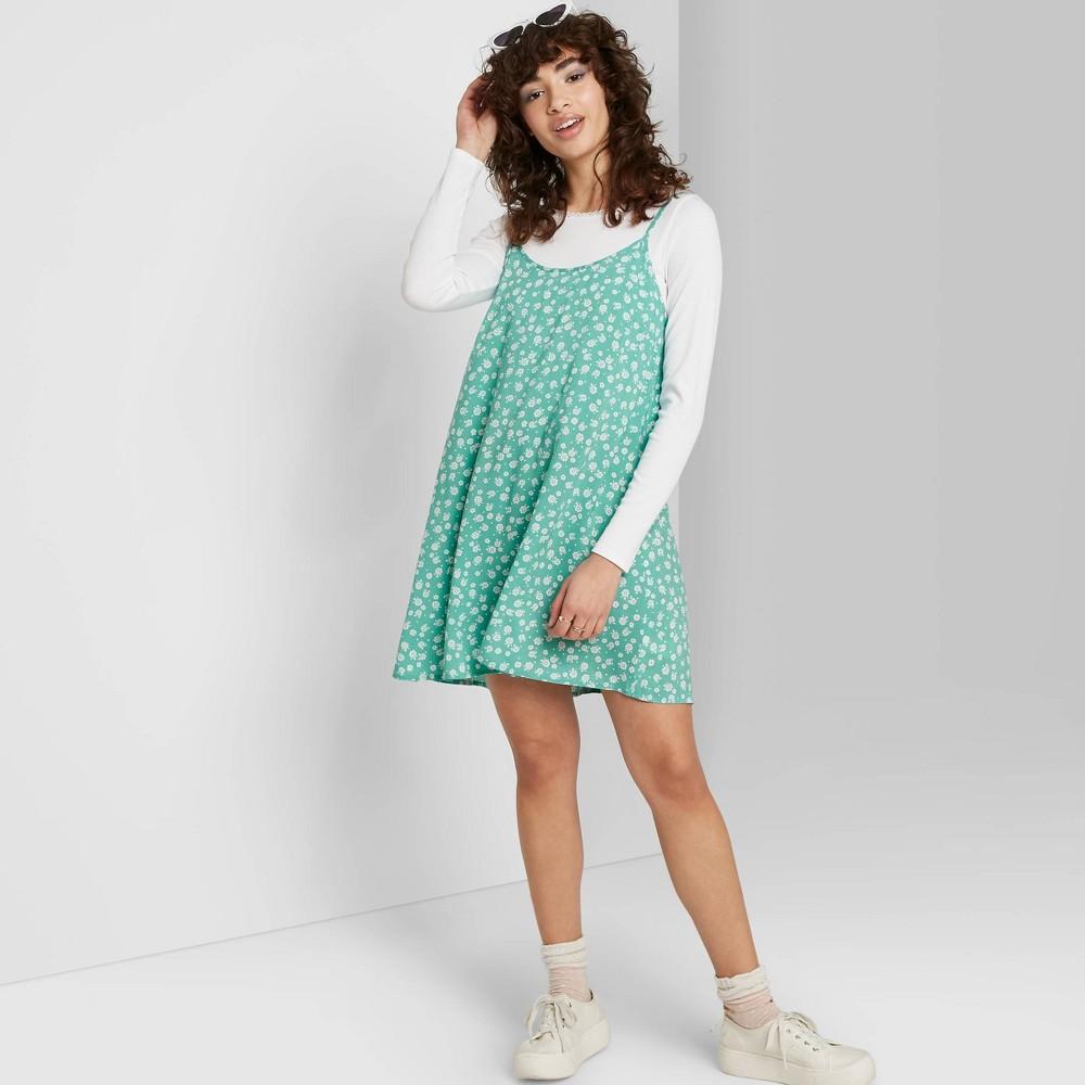 Image of Women's Floral Print Sleeveless Swing Dress - Wild Fable Green M, Women's, Size: Medium