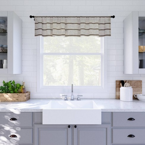 """14""""x52"""" Twill Striped Anti Dust Sheer Cafe Window Valance - Clean Window - image 1 of 4"""