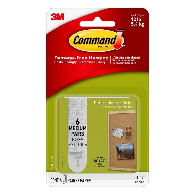 6ct 3M Command Picture Hanging Strips (Medium)- White