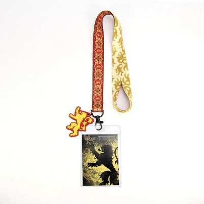 Crowded Coop, LLC Game of Thrones House Lannister Lanyard w/ PVC Charm