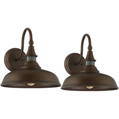 """John Timberland Gough 12 1/2"""" High Bronze Motion Sensor Outdoor Wall Light Set of 2"""