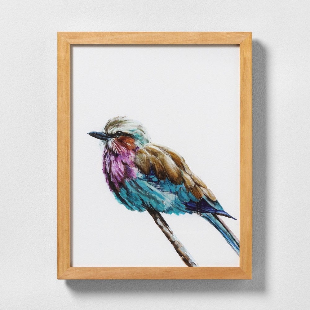 "Image of ""11"""" X 14"""" Colorful Bird Wall Art with Natural Wood Frame - Hearth & Hand with Magnolia"""