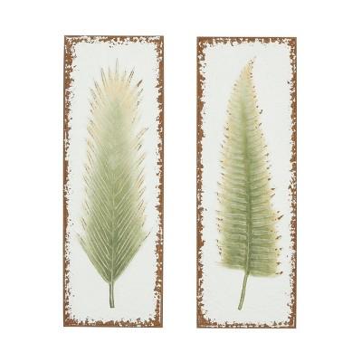 "(Set of 2) 12.5"" x 36"" Leaf Wall Art on Metal Frame - Olivia & May"