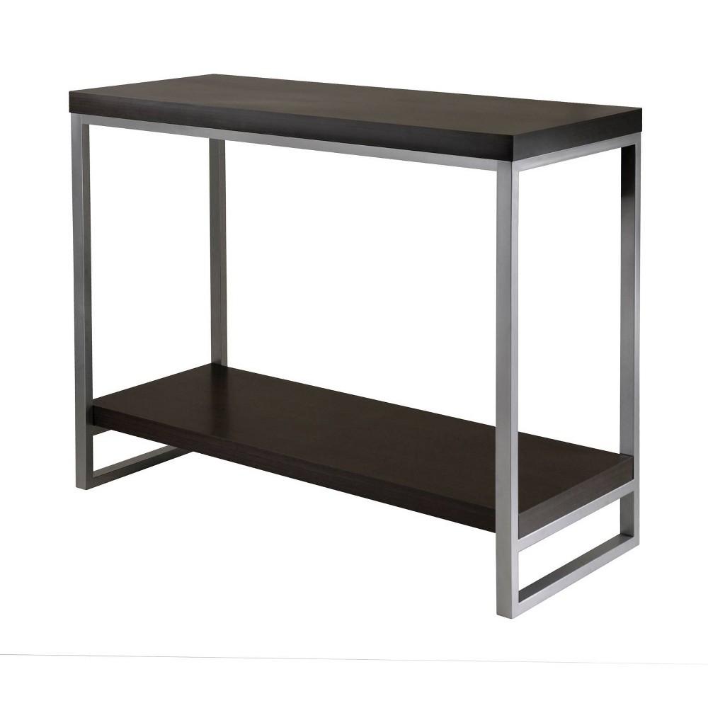 Image of Jared Console Table, Enamel Steel Tube - Dark Espresso - Winsome