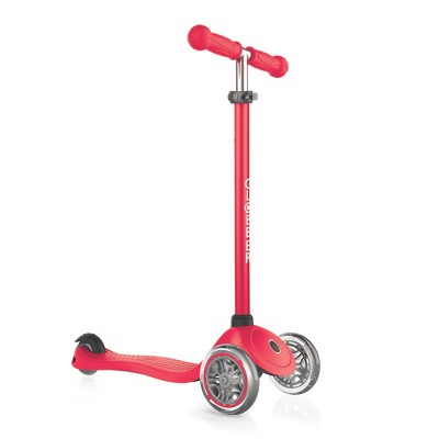 Globber Primo 3-Wheel Kids Kick Scooter with Adjustable Height and Comfortable Grips for Boys and Girls, Red
