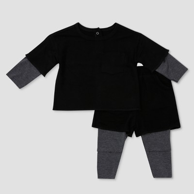 Baby Boys' Afton Street Long Sleeve Top and Bottom Set - Black 0-3M