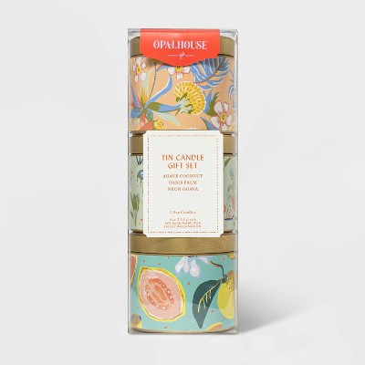 4oz 3pk Lidded Mini Patterned Tin Seasonal Candle Gift Set - Opalhouse™