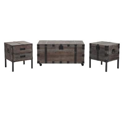 3pc Burke Trunk Table Set Gray - Crawford & Burke