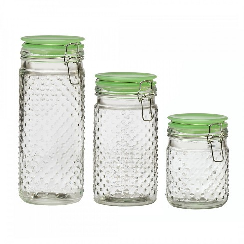 Amici Home Emma Jade Clear Hobnail/Green Glass 26-36 & 48 oz Glass Storage Canisters, Set of 3 - image 1 of 4