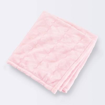 Plush Embossed Baby Blanket Hearts - Cloud Island™ Pink