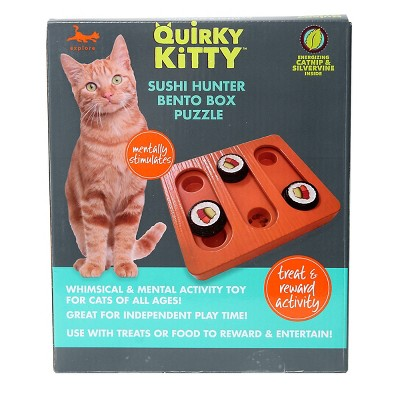 Quirky Kitty Bento Box Puzzle Cat Toy - Brown