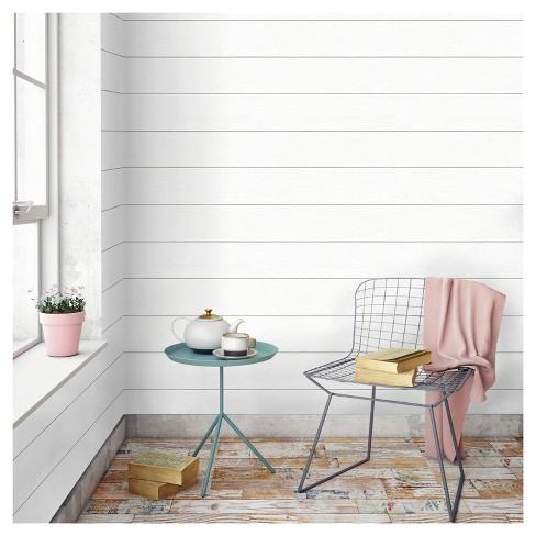 Devine Color Textured Shiplap Peel & Stick Wallpaper -Ultra White : Target