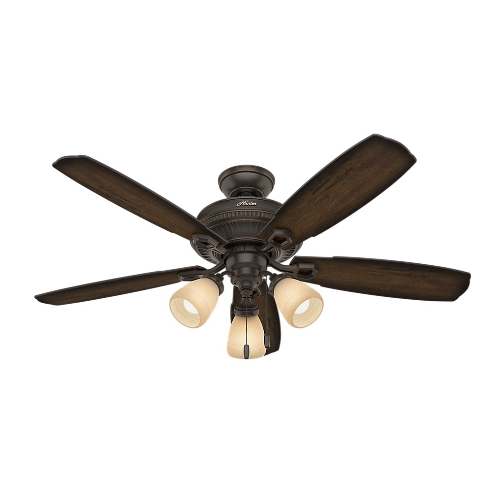 Image of 52 Ambrose Three Light Onyx Bengal Ceiling Fan with Light - Hunter Fan, Bronze
