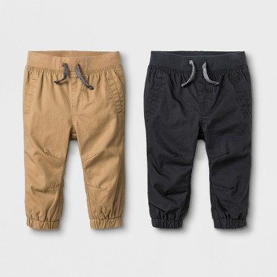 Baby Boys' Twill Joggers Set - Cat & Jack™ Tan/Gray 0-3M