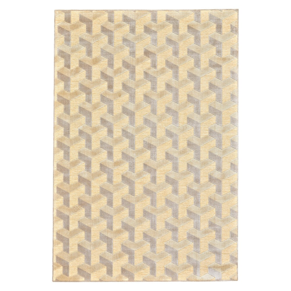 Cream/Silver (Ivory/Silver) Geometric Woven Accent Rug - (2'2X4') - Room Envy