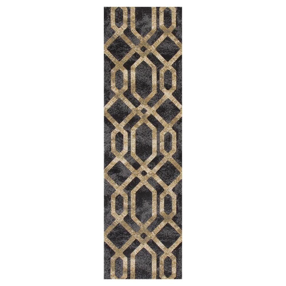 Gray Abstract Woven Runner - (2'X8') - Art Carpet, Grey