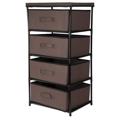 Juvale 4 Tier Dresser Drawers Organizer Tower, Fabric Chest of Storage Drawer Bins for Clothes, Brown 16.5x13 in