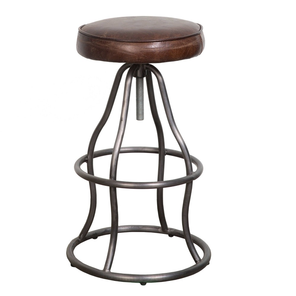 Image of Bowie Bar Stool Brown Leather - Keswick