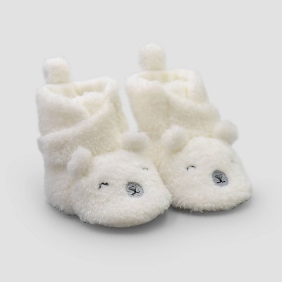 Baby Constructed Bear Bootie Slippers - Just One You® made by carter's White Newborn