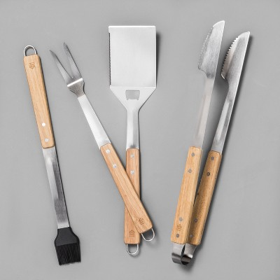 Grilling Tools 4pc - Stainless Steel/Wood - Hearth & Hand™ with Magnolia