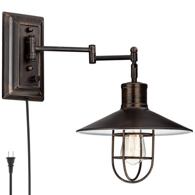 Franklin Iron Works Rustic Vintage Swing Arm Wall Lamp LED Brushed Bronze Plug-In Light Fixture Hooded Metal Cage Bedroom Bedside
