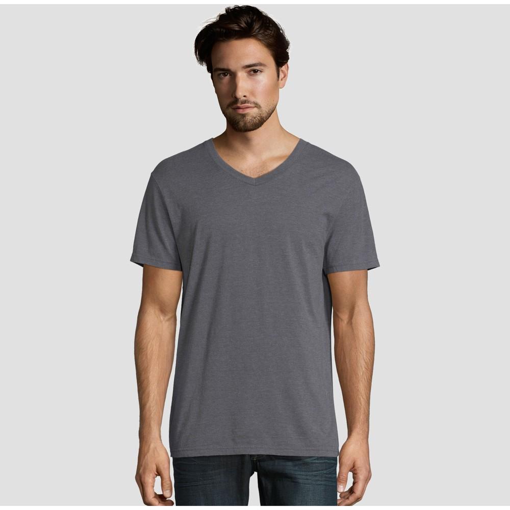 f08a4670e57a Hanes Premium Mens Short Sleeve Black Label V Neck T Shirt Charcoal Heather  L