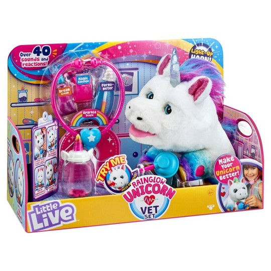 Little Live Rainglow Unicorn Vet Set image number null