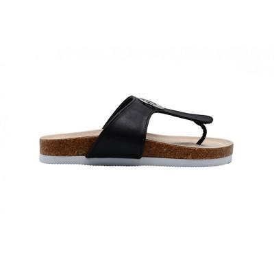 Rampage Girls Big Kid Shimmer Metallic Footbed Slide Sandal With Logo - Fashion Summer Shoes