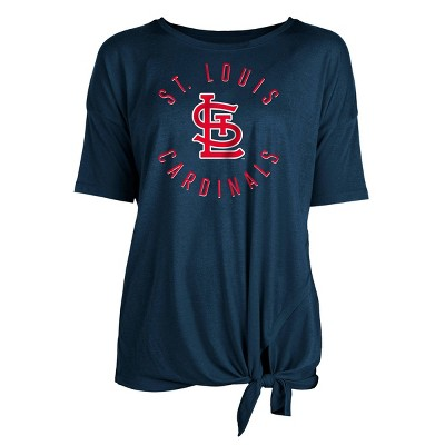 MLB St. Louis Cardinals Women's Poly Rayon Front Knot T-Shirt
