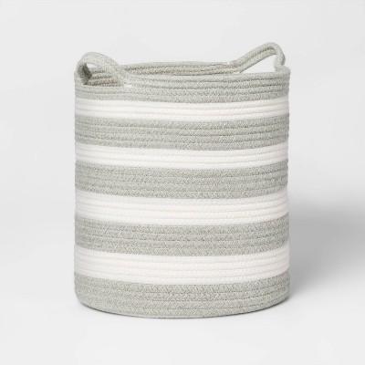 Medium Stripe Coiled Rope Gray - Pillowfort™