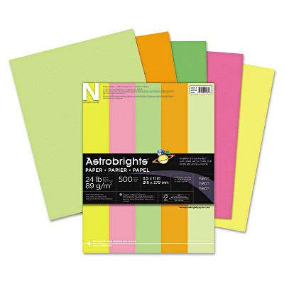 Neenah Paper Astrobrights Colored Paper 24lb 8-1/2 x 11 Neon Assortment 500 Sheets/Ream 20270