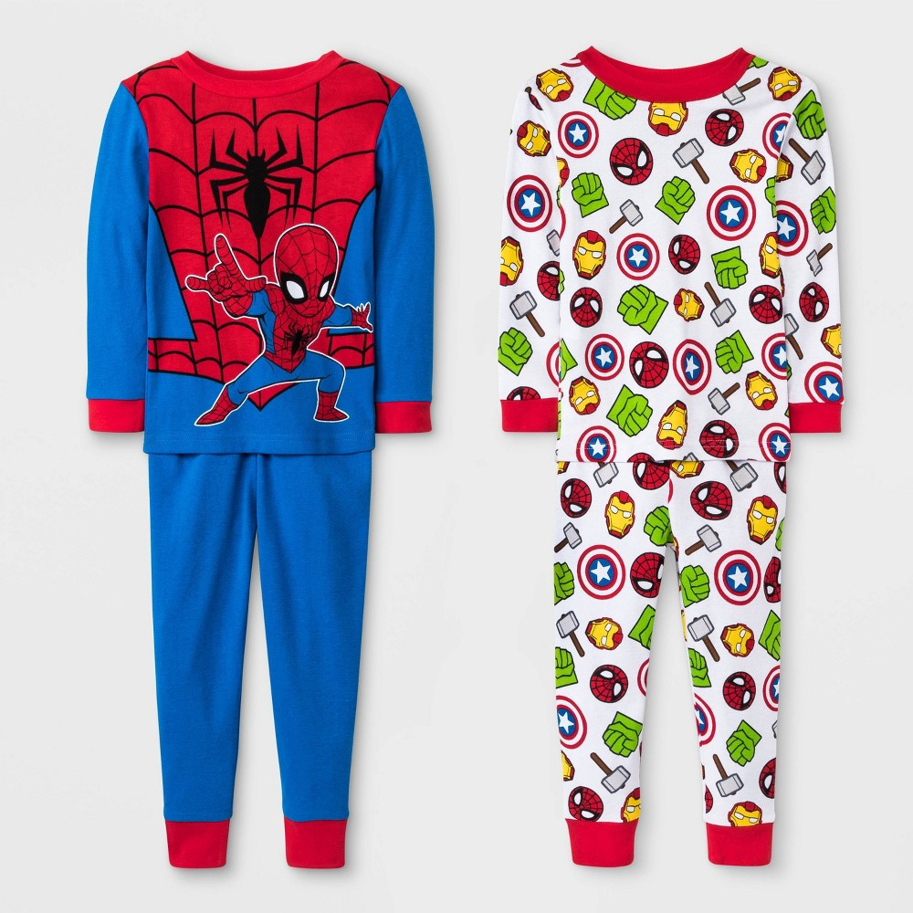 Image of Baby Boys' 4pc Marvel Spider-Man Pajama Set - Blue/Red/White 12M, Boy's