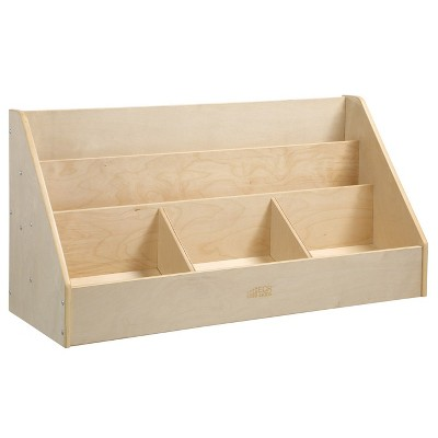 ECR4Kids Birch 5 Compartment Easy to Reach Book Display, Toddler Wooden Book Storage Rack, Natural