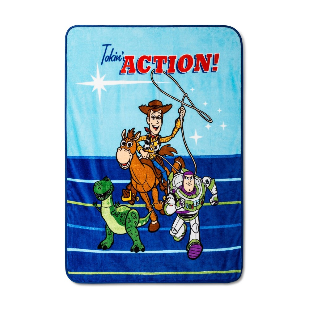 "Image of ""Toy Story 4 46""""x60"""" Throw Blanket Blue"""