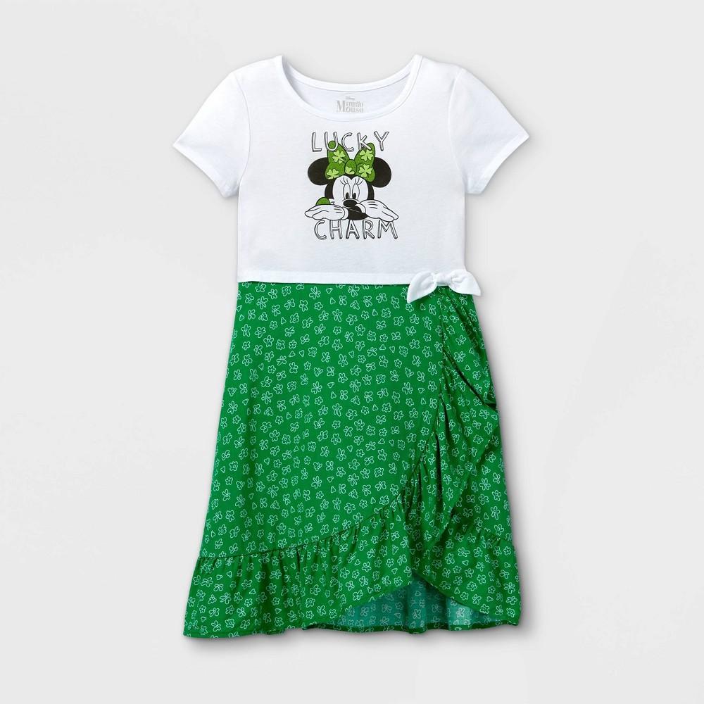 Girls 39 Disney Minnie Mouse 39 Lucky Charm 39 Dress Green White L