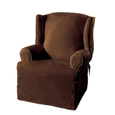 Soft Suede Wing Chair Slipcover Chocolate - Sure Fit