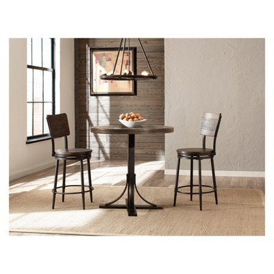 3pc Jennings Counter Height Dining Set with Swivel Counter Height Stools Wood/Metal- Hillsdale Furniture